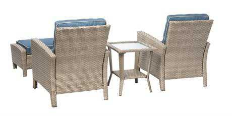 Alfresco Home Siesta 4 Piece Aluminum Frame/All Weather Wicker Deep Seating Lounge Set