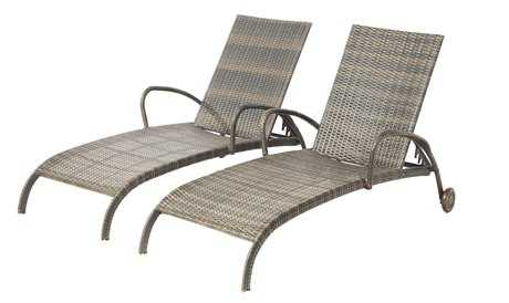 Alfresco Home Tutto Aluminum Wicker Adjustable Chaises Set of 2