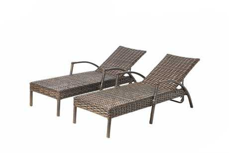 Alfresco Home Everwoven Aluminum Wicker Adjustable Back Chaise Lounges inArtisan Roast Set of 2