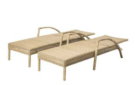 Alfresco Home Everwoven Aluminum Wicker Adjustable Back Chaise Lounges in Spiced Chai  2 Set