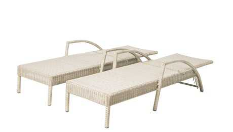 Alfresco Home Everwoven Aluminum Wicker Adjustable Back Chaise Lounges in Whip Set 2