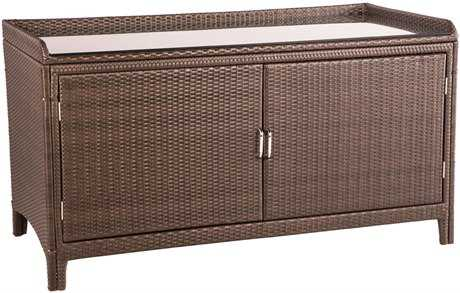 Alfresco Home All Weather Wicker Sideboard with Shelf and Glass Top