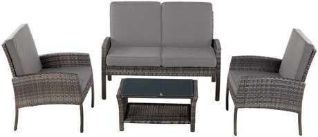 Alfresco Home All Weather Wicker Grand Cayman Deep Cushion Seating Conversation Set