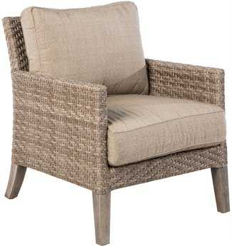 Alfresco Home Cornwall Woven Wood Deep Seating Lounge Chair with Sunbrella Cast Shale Cushion