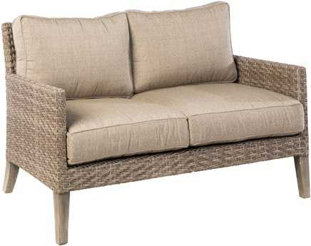 Alfresco Home Cornwall Woven Wicker Loveseat with Sunbrella Cast Shale Cushion