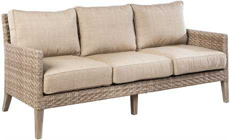 Alfresco Home Cornwall Woven Wicker Deep Seating Sofa with Sunbrella Cast Shale Cushion