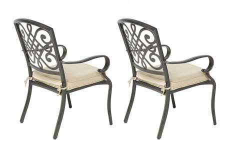 Alfresco Home Barcelona Cast Aluminum Stackable Dining Arm Chairs Set of 2