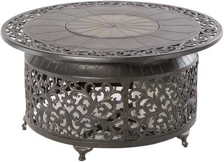 Alfresco Home Bellagio Cast Aluminum 48 Round Propane Gas Fire Pit Table