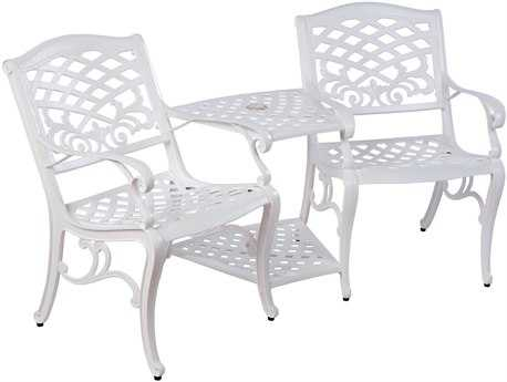 Alfresco Home Tete-a-Tete Cast Aluminum Bench with umbrella hole
