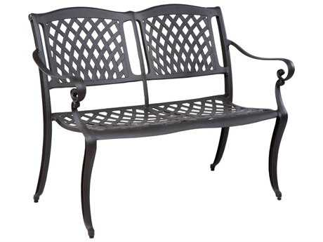 Alfresco Home Westbury Cast Aluminum Two Seat Garden Bench with Arms