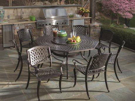 Alfresco Home Westbury Cast Aluminum Dining Set  with Lazy Susan- Seats 8