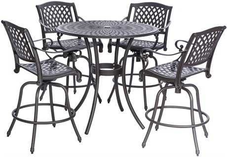 Alfresco Home Westbury Cast Aluminum 42 Round Bar Set
