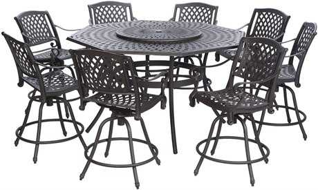 Alfresco Home Kingston Cast Aluminum Weave 42 Round Bar Table with umbrella hole