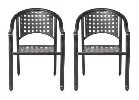 Alfresco Home Milano Stackable Cafe Chairs in London Black Set of 2