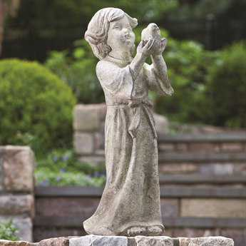 Alfresco Home Garden Child Holding Bird Statue