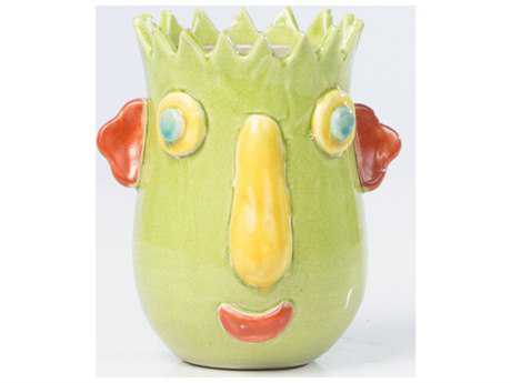 Alfresco Home Cabeza Medium Ceramic Planter in Bright Green