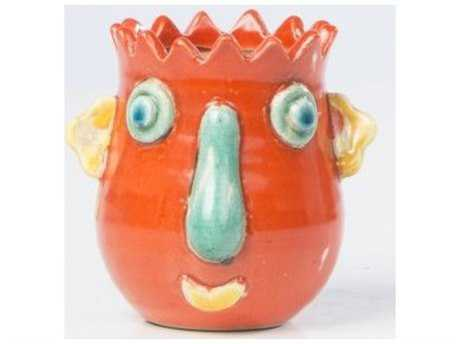 Alfresco Home Cabeza Small Ceramic Planter in Red Orange