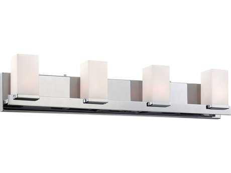Alico Sleek Chrome & White Opal Glass Four-Light Vanity Light