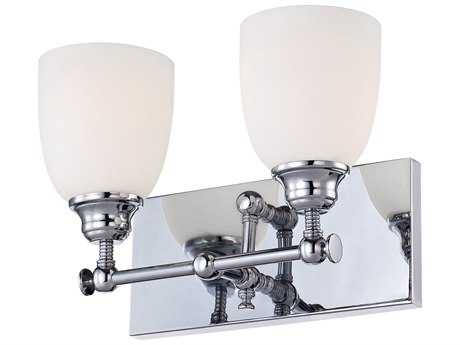 Alico Essex Chrome & White Opal Glass Two-Light Vanity Light