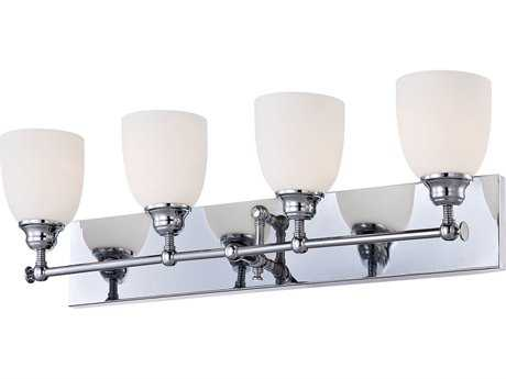 Alico Essex Chrome & White Opal Glass Four-Light Vanity Light