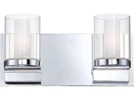 Alico Anchor Chrome & White Opal Glass Two-Light Vanity Light