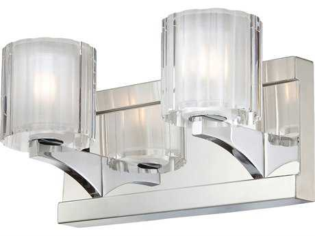 Alico Tiara Chrome & Crystal Glass Two-Light Vanity Light