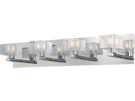 Alico Quatra Chrome & Crystal Glass Four-Light Vanity Light