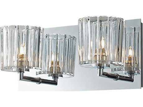 Alico Sprocket Chrome & Crystal Glass Two-Light Vanity Light
