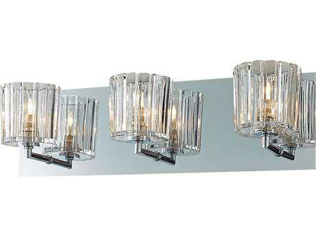 Alico Sprocket Chrome & Crystal Glass Three-Light Vanity Light