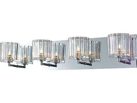 Alico Sprocket Chrome & Crystal Glass Four-Light Vanity Light