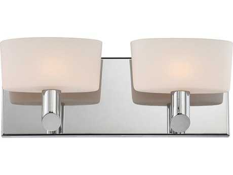 Alico Toby Chrome & White Opal Glass Two-Light Vanity Light