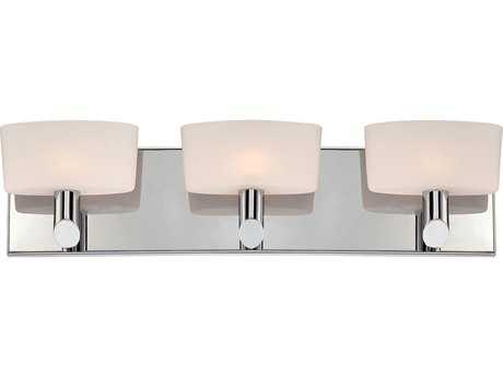 Alico Toby Chrome & White Opal Glass Three-Light Vanity Light