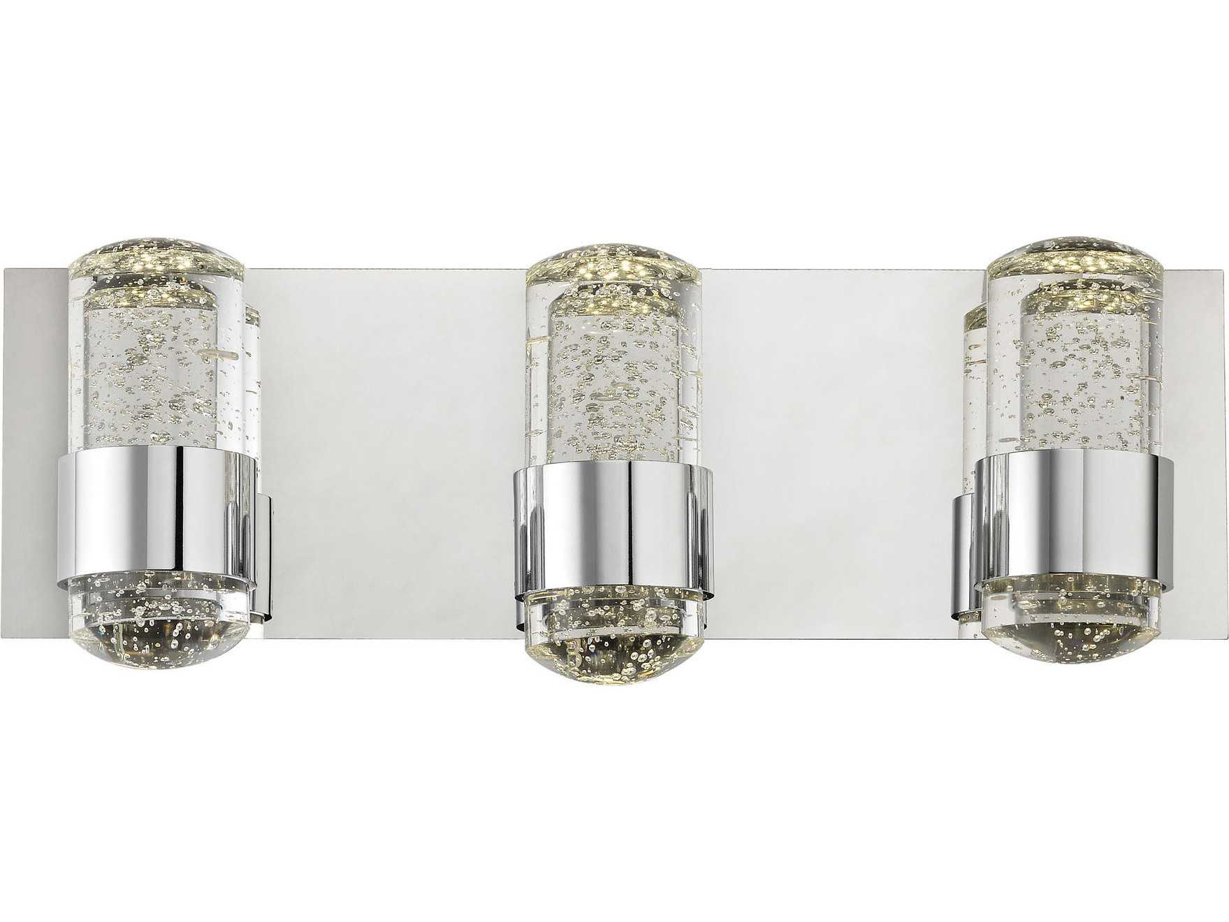 Vanity Lights With Clear Glass : Alico Surrey Chrome & Clear Glass Three-Light Vanity Light ALCBVL153015