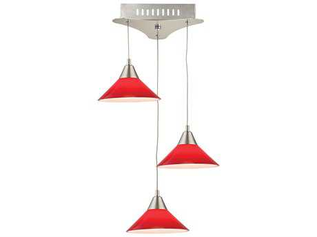 Alico Cono Satin Nickel & Red Glass Three-Light 12'' Wide Pendant