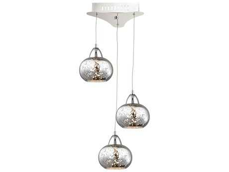 Alico Ciotola Chrome & Mercury Glass Three-Light 10'' Wide Pendant