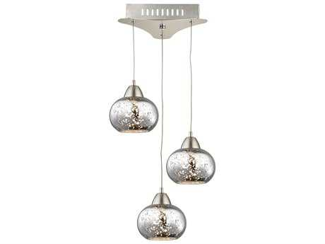Alico Ciotola Satin Nickel & Mercury Glass Three-Light 10'' Wide Pendant