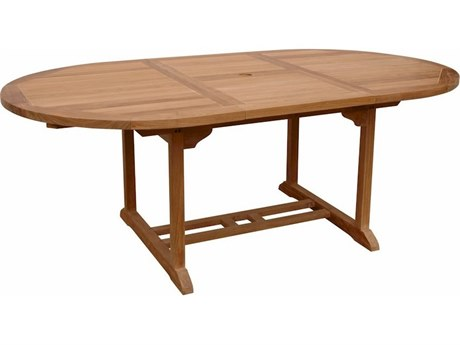 Anderson Teak Bahama Natural 47-71''W x 47''D Oval Extension Dining Table ALTBX071VT