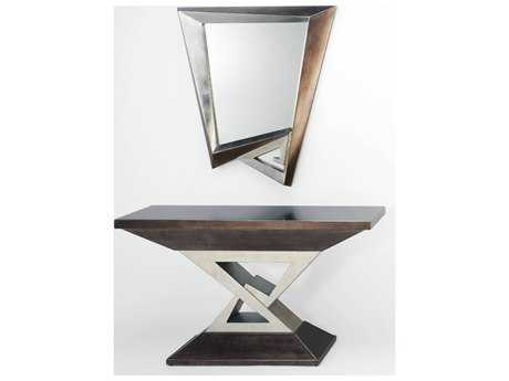 Artmax Silver Leaf & Dark Aged Metallic Table & Mirror Set