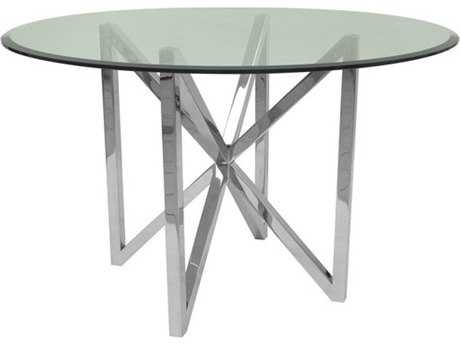 Allan Copley Designs Calista Polished Stainless Steel 48'' Wide Round Dining Table