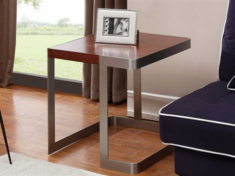 Allan Copley Designs Caroline 22'' Wide Square Walnut with Brushed Stainless Steel End Table