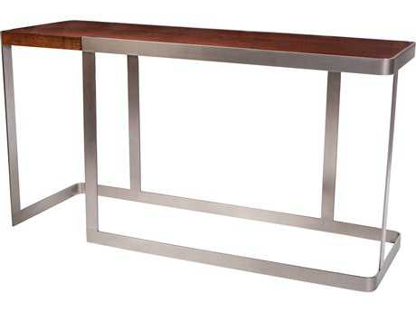 Allan Copley Designs Caroline 56''L x 18''W Rectangular Walnut with Brushed Stainless Steel Console Table