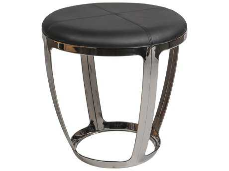 Allan Copley Alyssa Stainless Steel Accent Stool with Black Faux Leather Upholstery
