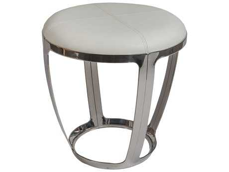 Allan Copley Alyssa Stainless Steel Accent Stool with White Faux Leather Upholstery