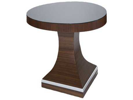 Allan Copley Designs Omega 23.5'' Wide Round Mahogany on Asian Walnut Pedestal Table