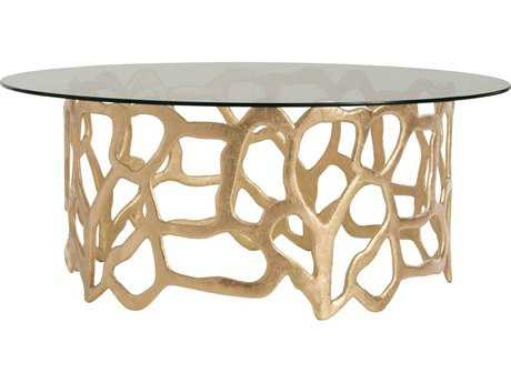 Arteriors Home Brampton Gold Leaf 40'' Wide Round Cocktail Table