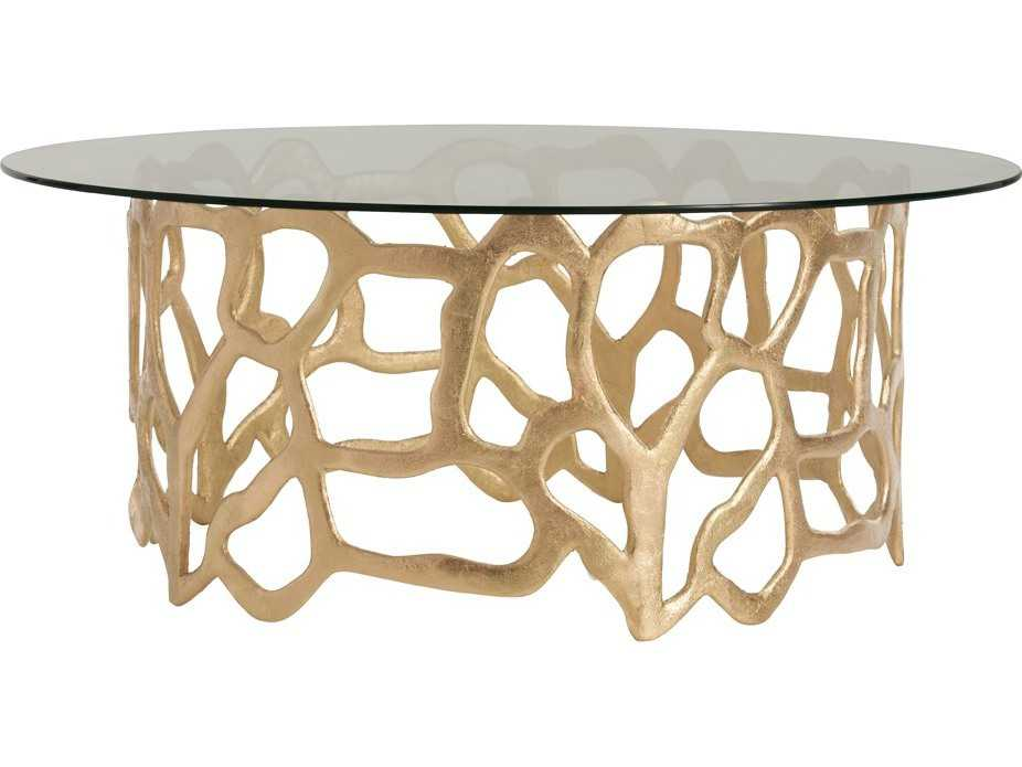 Arteriors home brampton gold leaf 40 39 39 wide round cocktail for Coffee tables 50cm wide