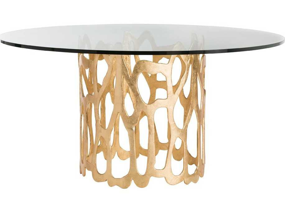 Home Brampton Clear Glass Gold Leaf 48 39 39 Wide Round Dining