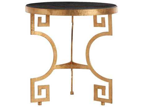 Arteriors Home Bonnie Black Marble & Gold Leaf 24'' Wide Round End Table