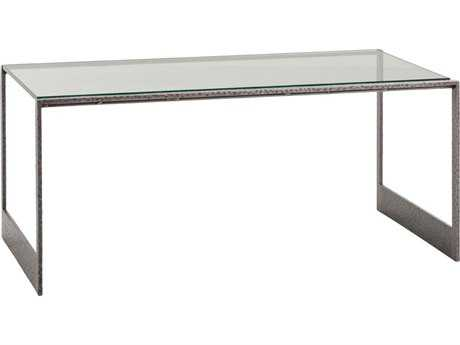 Arteriors Home Barton Natural Iron with Clear Glass 40''L x 20''W Rectangular Cocktail Table