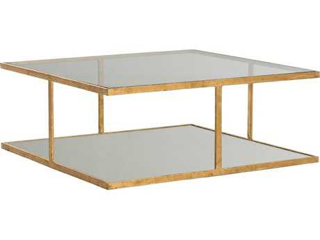 Arteriors Home Barlow Gold Leaf with Clear Glass 36'' Wide Square Cocktail Table